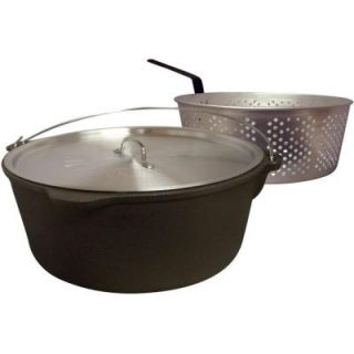 King Kooker 16 qt. Cast Iron Pot with Aluminum Lid and Basket DISCONTINUED CI16B