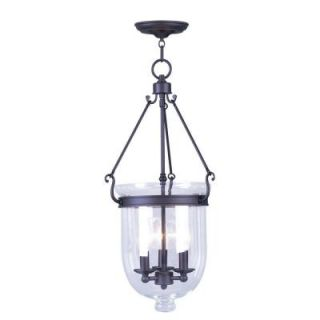 Livex Lighting Providence 3 Light Bronze with Clear Glass Pendant 5064 07