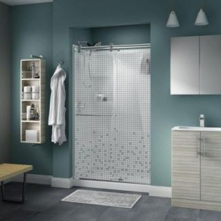 Delta Simplicity 48 in. x 71 in. Semi Frameless Contemporary Sliding Shower Door in Chrome with Mozaic Glass 2439146