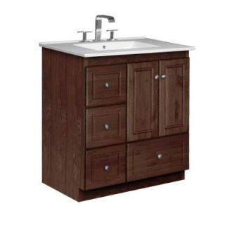 Simplicity by Strasser Ultraline 31 in. W x 22 in. D x 35 in. H Vanity with Left Drawers in Dark Alder with Vanity Top in White 01.953.2
