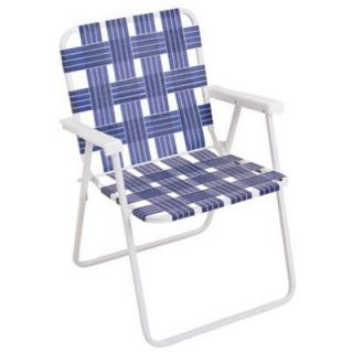 Folding Web Chair, White Powder Coated Steel Frame & Blue Webbing: Model# BY055 0138