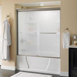 Delta Simplicity 60 in. x 58 1/8 in. Semi Framed Sliding Tub Door in Nickel with Rain Glass 2435523