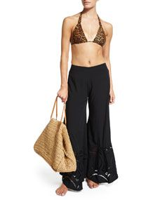 Vix Bia Murad Leopard Print Swim Top, Bottom & Peggy Wide Leg Embroidered Coverup Pants