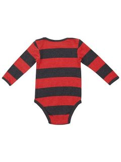 Fabric Flavours Boys Dennis Menace marl stripe babygrow Red