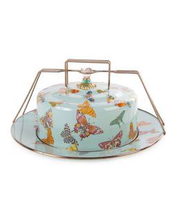 MacKenzie Childs Sky Butterfly Garden Cake Carrier