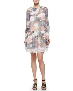 See by Chloe Long Sleeve Printed Georgette Dress