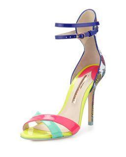 Sophia Webster Nicole Pineapple Patent Sandal, Magenta/Aqua