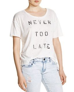 KNOT SISTERS Never Too Late Distressed Tee