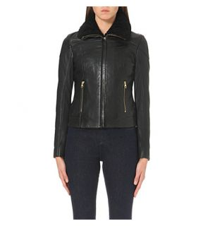 TED BAKER   Shearling trimmed leather jacket