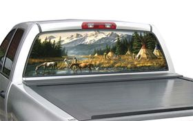"Window Canvas WC317005 0   Black Feet Village Small truck (16"" x 54"") Native American Window Graphics   Window Graphics"