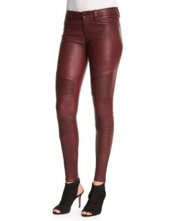 J Brand Jeans Tonya Leather Moto Skinny Pants, Mulberry