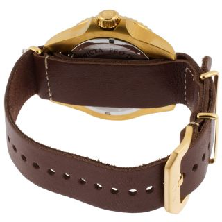 Men's Pro Diver Brown Leather Contrast Stitching Blue Dial