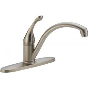Delta 140 SS DST Collins Single Handle Kitchen Faucet   Stainless Steel