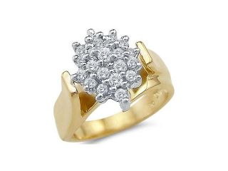 Solid 14k Yellow Gold Ladies Engagement CZ Cubic Zirconia Cluster Ring Round Cut 1.5 ct