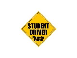 """Zone Tech Student Driver Please Be Patient 5"""" x 5"""" Decal   Safety Caution Sign (1)"""