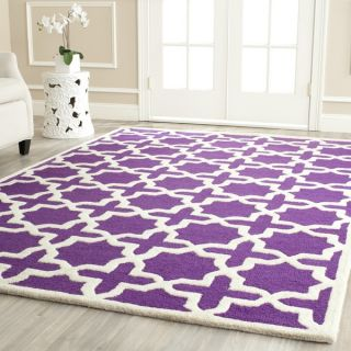 Safavieh Handmade Moroccan Cambridge Geometric Purple/ Ivory Wool Rug