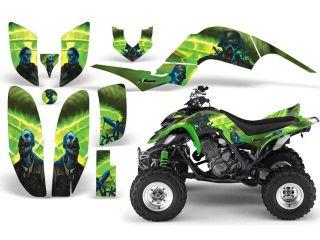 2001 2005 Yamaha Raptor 660::AMRRACING ATV Graphics Decal Kit:Zombie Trooper Green