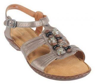 Clarks Artisan Brisk Rosebud Leather T Strap Sandals —