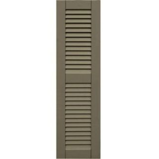 Wood Composite 12 in. x 43 in. Louvered Shutters Pair #660 Weathered Shingle 41243660   Mobile