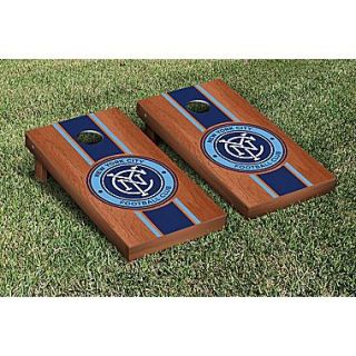 Victory Tailgate MLS Rosewood Stained Stripe Version Cornhole Game Set; New York City