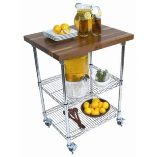 Rouge et Noir Metro Kitchen Cart with Wood Top by John Boos