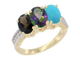 10K Yellow Gold Natural Smoky Topaz, Mystic Topaz & Turquoise Ring 3 Stone Oval 7x5 mm Diamond Accent, sizes 5   10