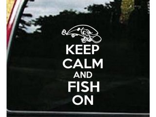 Keep Calm and Fish On Custom Window Decal Sticker 7.5 inch