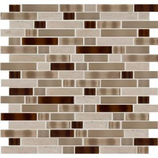 MS International Tuscan Trail Interlocking 12 in. x 12 in. x 6 mm Glass and Stone Mesh Mounted Mosaic Wall Tile SGLSIL TT6MM