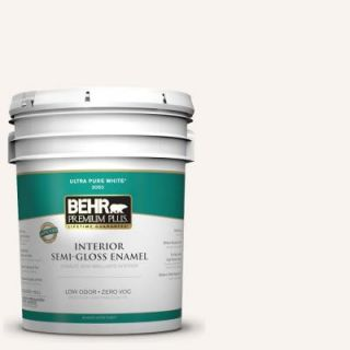 BEHR Premium Plus 5 gal. #W B 100 Billowy Clouds Zero VOC Semi Gloss Enamel Interior Paint 305005