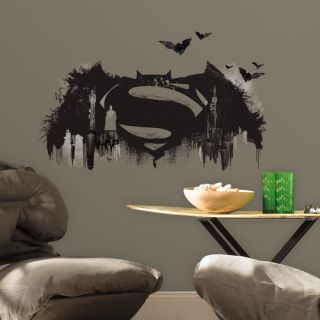 Room Mates Batman Vs. Superman Logo Peel and Stick Giant Wall Mural
