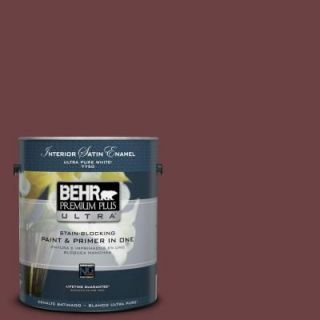 BEHR Premium Plus Ultra 1 gal. #BIC 50 Deep Claret Satin Enamel Interior Paint 775301