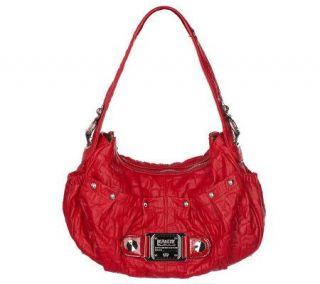 KathyVanZeeland Croco Embossed Nappa Zip Top Shoulder Bag w/ Hardware Detail —