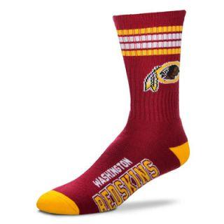 Washington Redskins For Bare Feet 4 Stripe Deuce Team Color Performance Crew Socks