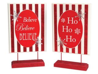 """4 """"Ho Ho Ho"""" and """"Believe"""" Peppermint Striped Christmas Table Top Signs 15.25"""""""
