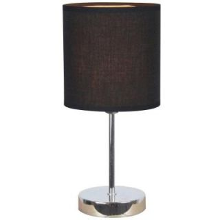 Simple Designs 11.89 in. Chrome Mini Basic Table Lamp with Black Fabric Shade LT2007 BLK