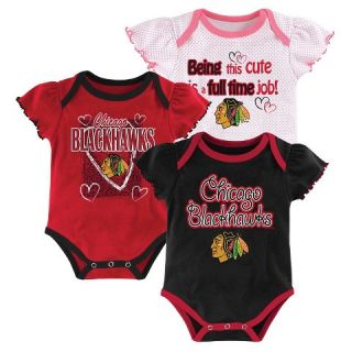 Chicago Blackhawks Girls Infant/Toddler 3 Pk Body Suit