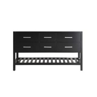 Design Element London 59.5 in. W x 21.5 in. D Vanity Cabinet Only in Espresso with Open Bottom DEC077C CB