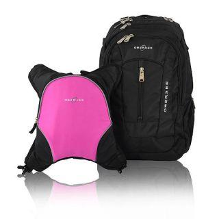 Obersee Bern Backpack Diaper Bag and Cooler   Black / Pink    Obersee