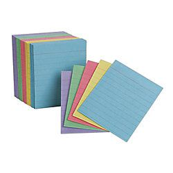 Oxford Half Size Index Cards Ruled 3 x 2 12  Assorted Colors Pack Of 200
