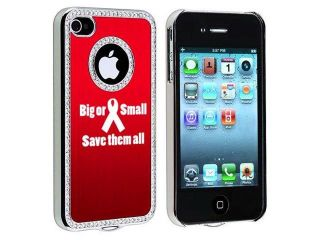 Apple iPhone 4 4S 4G Red S1564 Rhinestone Crystal Bling Aluminum Plated Hard Case Cover Big or Small Save Them All Breast Cancer