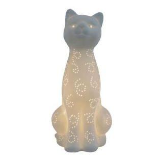 Simple Designs Animal Love 11 in. White Porcelain Kitty Cat Shaped Table Lamp LT3056 WHT