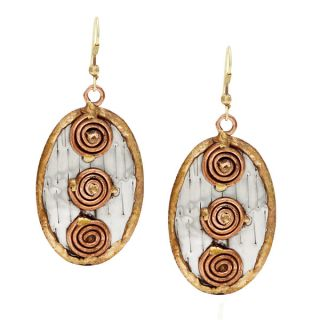 Handmade Stainless Steel with Three Copper Coils Earrings (India)