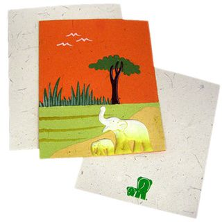 Handmade Designer Orange Elephant Poo Paper Card (Sri Lanka