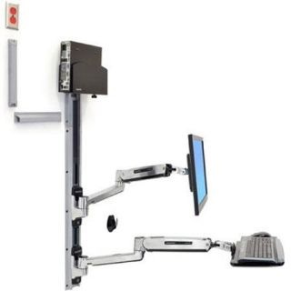 Ergotron LX Sit Stand Wall Mount System with Small Black CPU Holder 45 359 026