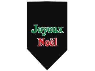 Mirage Pet Products 66 25 08 LGBK Joyeux Noel Screen Print Bandana Black Large