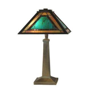 Dale Tiffany 19.5 in. Brea Mission Antique Bronze/Verde Table Lamp TT10499