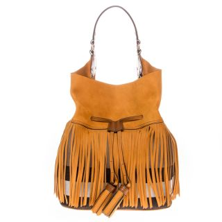 Burberry Large Ashby in Fringed Suede and Canvas Check Hobo Bag