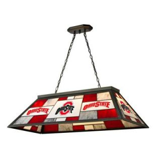 IMPERIAL 3 Light Black Ohio State Stained Glass Billiard Lamp IMP  352 3015