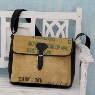 Handcrafted Upcycled Tea Sack High Tea Chic Shoulder Bag (India