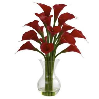 Nearly Natural Galla Calla Lily with Vase Arrangement in Red 1299 RD